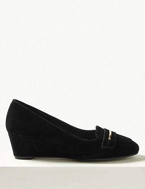 Suede Wedge Heel Trim Court Shoes