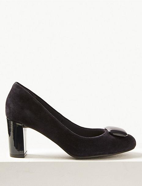 Suede Almond Toe Trim Court Shoes