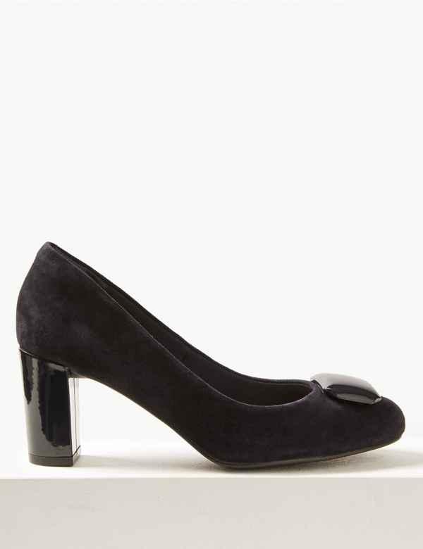 db43297ceec Suede Almond Toe Trim Court Shoes