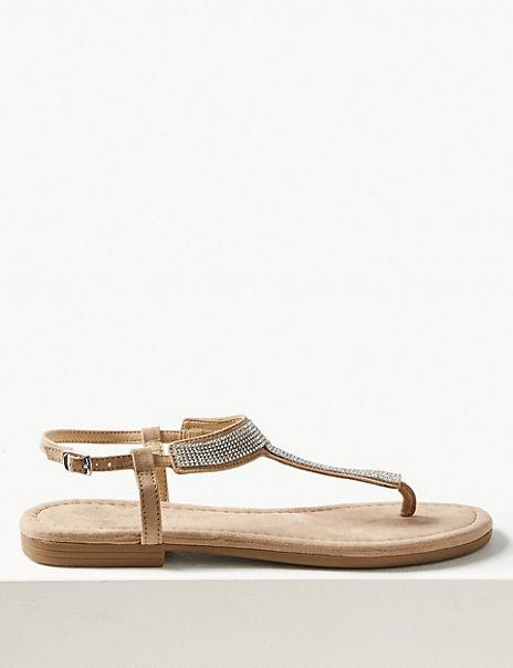 T-Bar Embellished Sandals