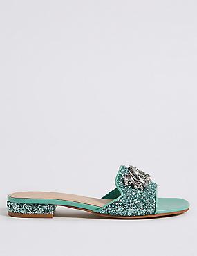Block Heel Jewel Sparkle Mule Sandals