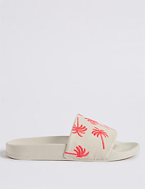 Palm Embroidered Sliders