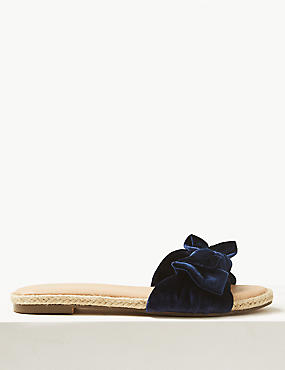Velvet Bow Mule Sandals