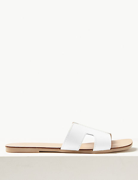 Flat Leather Mules