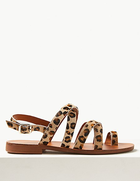 Leather Buckle Loop Sandals