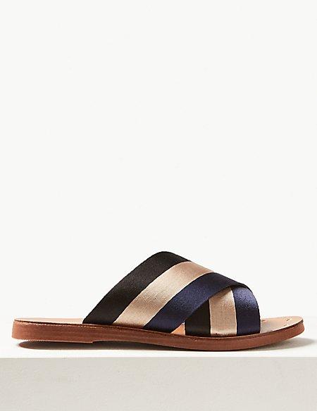 Cross Front Slide Sandals