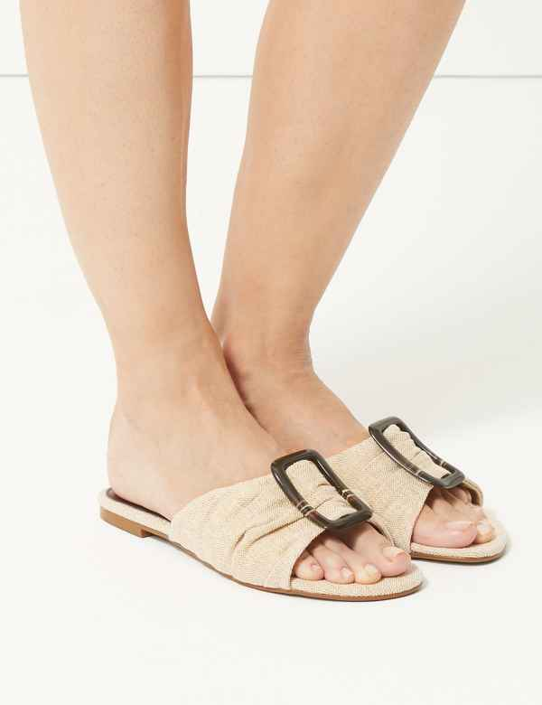 777677cd46 Ruched Buckle Sandals. M S Collection