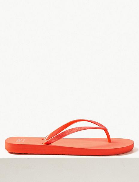 Open Toe Glitter Flip-Flops