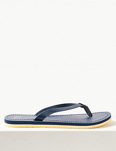 Open Toe Stripe Base Flip-Flops