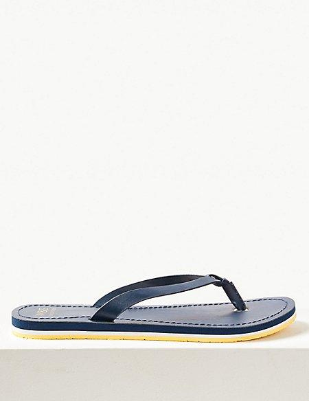 Open Toe Stripe Base Flip-flops Sandals