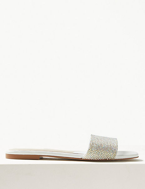 Diamanté Mule Sandals