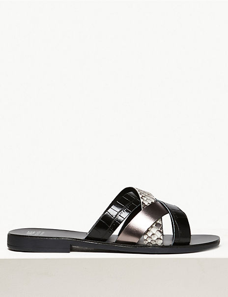 Leather Multi Strap Mule Sandals