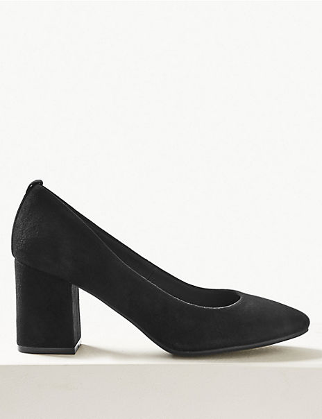Suede Round Toe Court Shoes