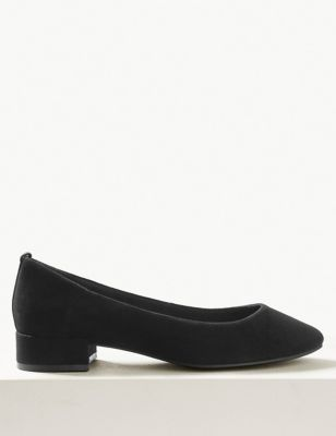 Suede Round Toe Court Shoes by Marks & Spencer