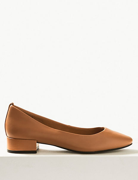 Leather Round Toe Court Shoes