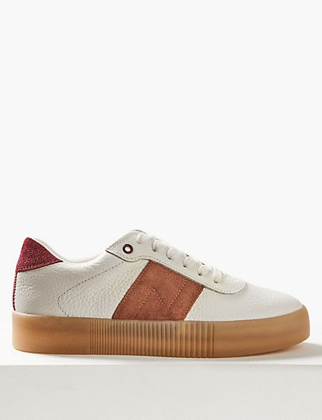 Leather Suede Panel Lace-up Trainers