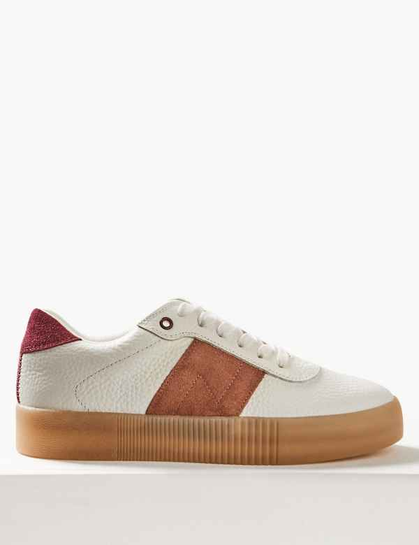 2a4eb6ed5f4 Leather Suede Panel Lace-up Trainers