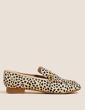 Leather Animal Print Bar Trim Flat Loafers