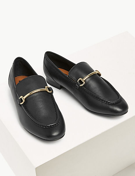 Leather Bar Trim Loafers