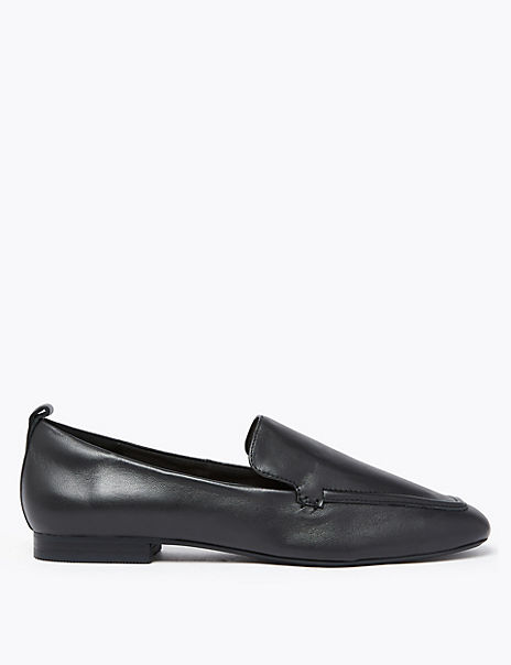 Leather Soft Square Toe Loafers