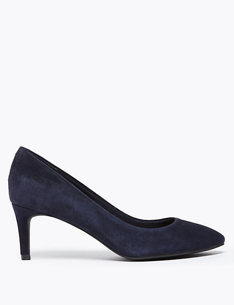 Suede Pointed Court Shoes