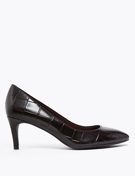 Leather Crocodile Print Pointed Court Shoes
