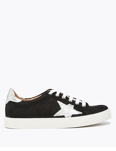 Suede Lace Up Star Trainers