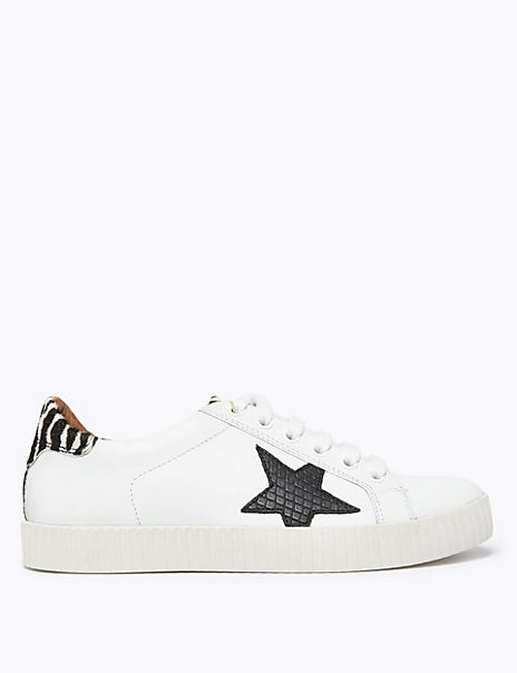 Leather Lace Up Star Print Trainers