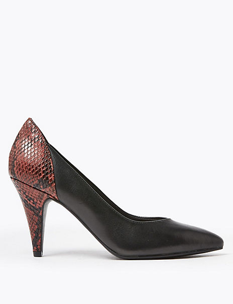 Leather Animal Print Court Shoes