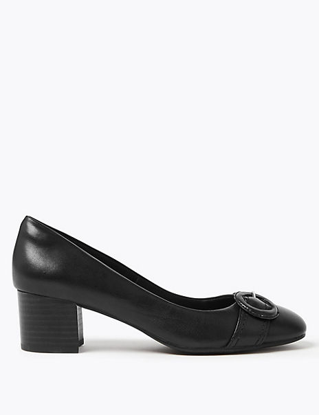 Leather Buckle Block Heel Court Shoes