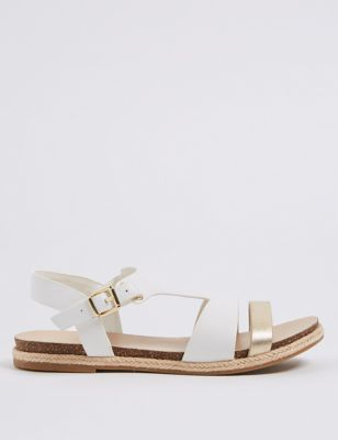 Wide Fit Leather Rope Detail Sandals by Marks & Spencer