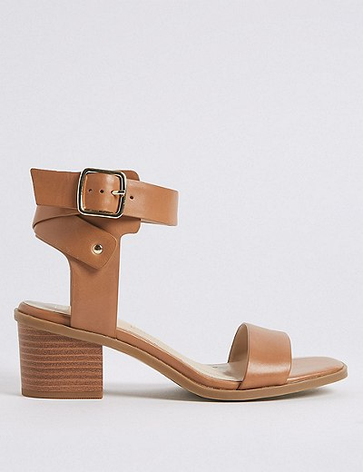 842bb84e46e Wide Fit Leather Block Heel Sandals