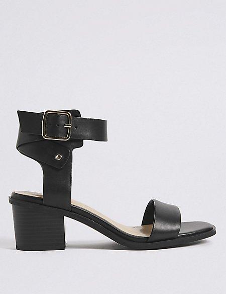 Wide Fit Leather Block Heel Sandals