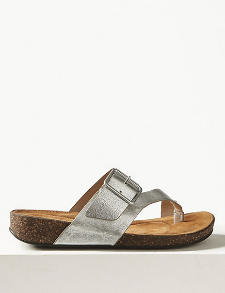 Wide Fit Leather Toe Thong Sandals