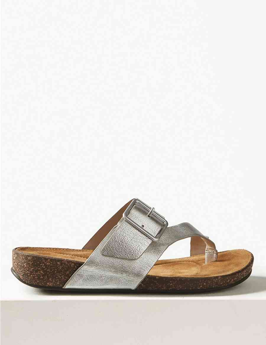 e05edba7503 Wide Fit Leather Toe Thong Sandals