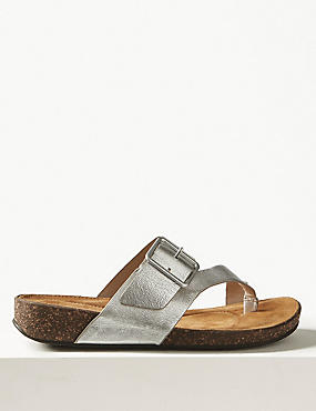 Wide Fit Leather Flip-flops Sandals