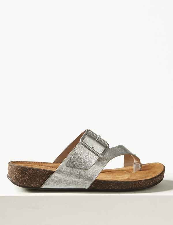 af8bc9bf89e83 Wide Fit Leather Toe Thong Sandals