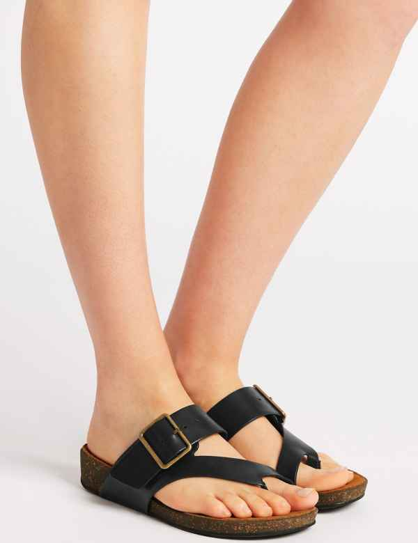 98c890b6519 Wide Fit Leather Toe Thong Sandals