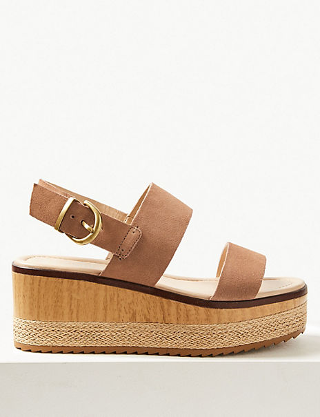 Wide Fit Suede Two Band Sandals