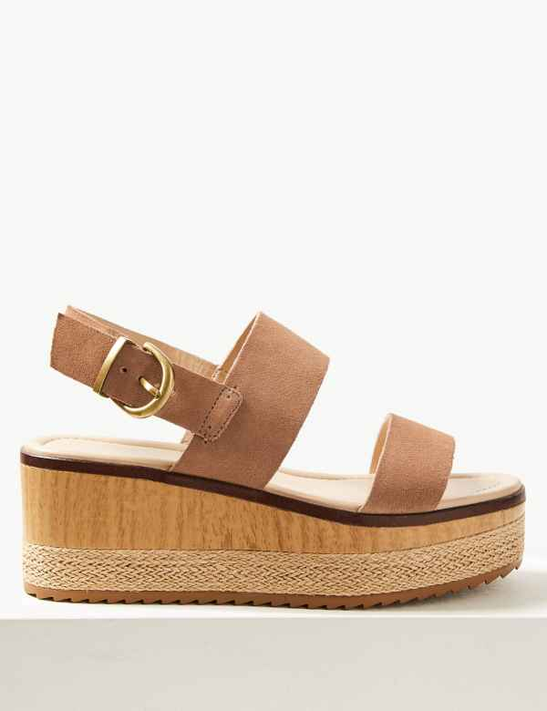 e328dcaab191 Wide Fit Suede Two Band Sandals