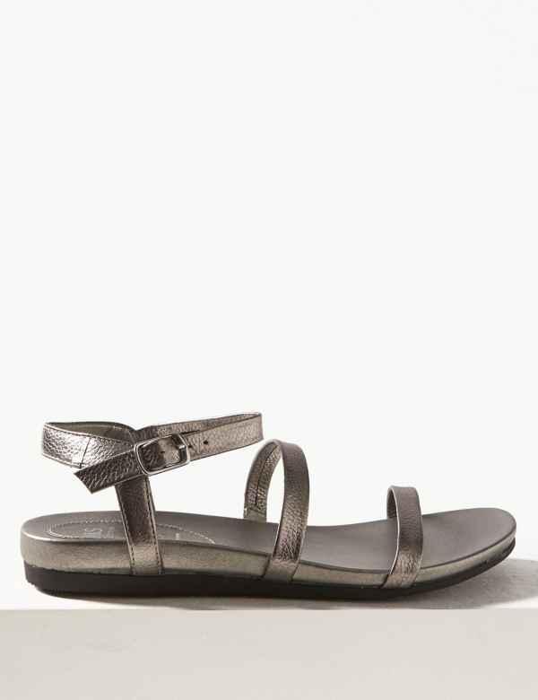 2203f6af4888 Wide Fit Leather Ankle Strap Sandals