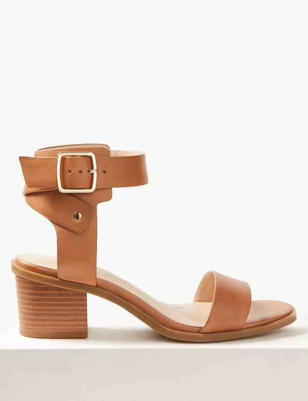 0350ebff2934 Wide Fit Leather Ankle Strap Sandals