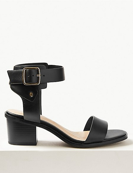 Wide Fit Leather Ankle Strap Sandals