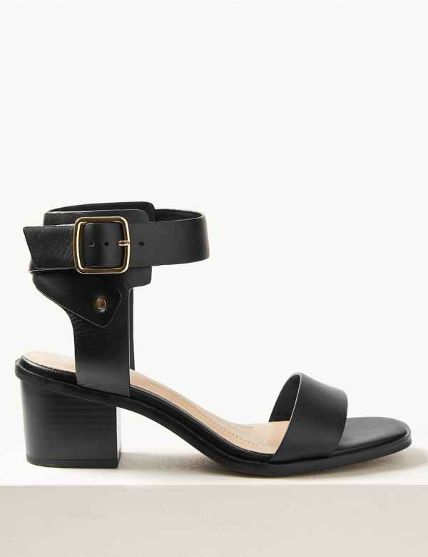 Wide Fit Leather Ankle Strap Sandals. M S Collection 94076cc8746b