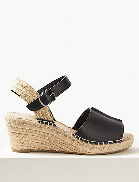 Wide Fit Leather Wedge Heel Espadrilles