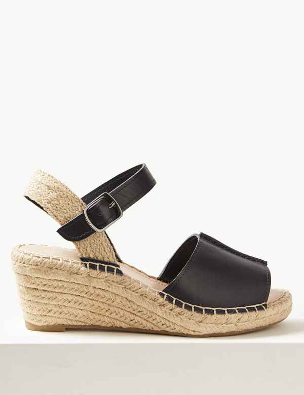 1b4fc69a7592 Wide Fit Leather Wedge Heel Espadrilles