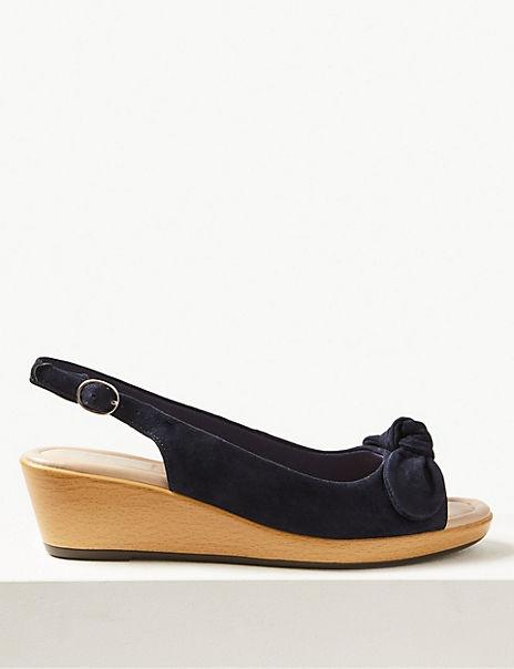 Wide Fit Suede Wedge Heel Slingback Sandals