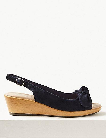 77111c7e050 Wide Fit Suede Wedge Heel Slingback Sandals