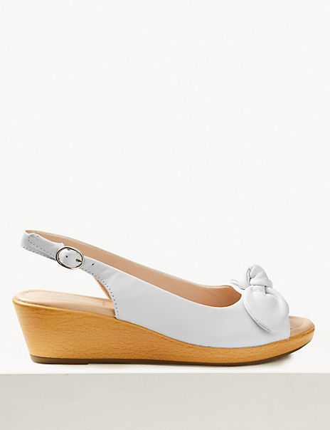 Wide Fit Leather Wedge Heel Bow Sandals