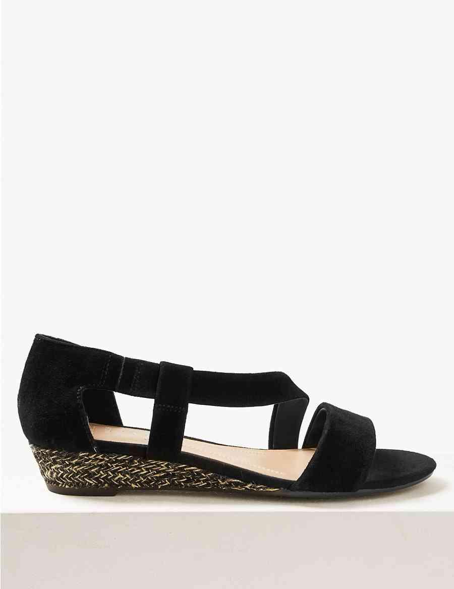 929e9f998cb Wide Fit Suede Cross Over Strap Sandals